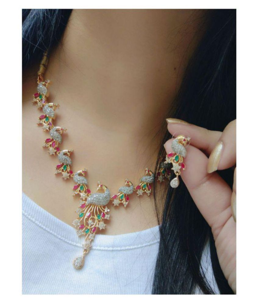 Ankur Exquitely Peacock Gold Plated And Rhodium American Diamond Necklace Set For Women Ankur Hub