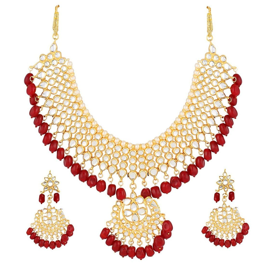 cba623ad79e1f Ankur gorgeous gold plated kundan and red pearl choker wedding ...