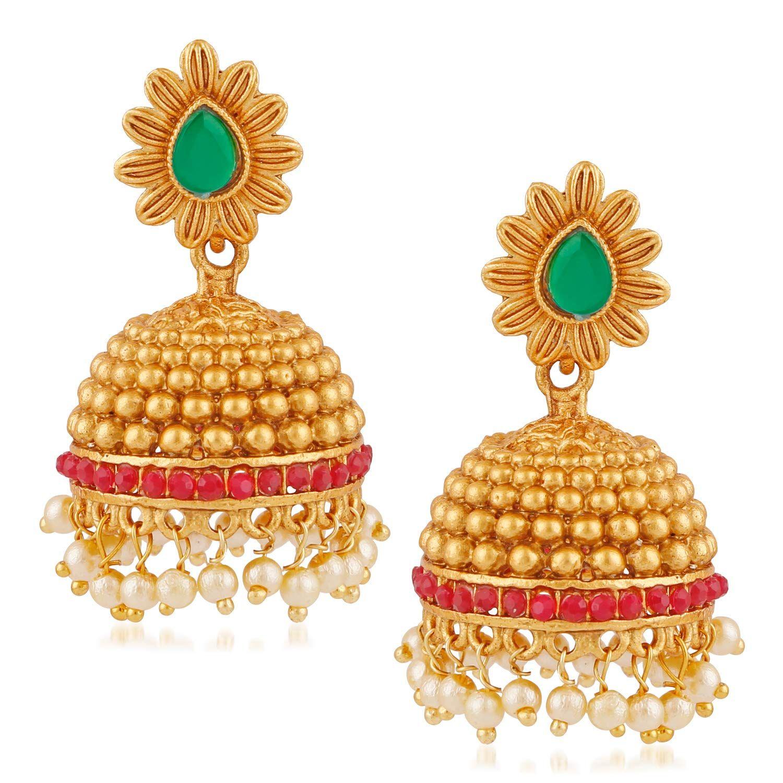 3f592988f ... Ankur stunning flowers design gold plated jhumki earring for women