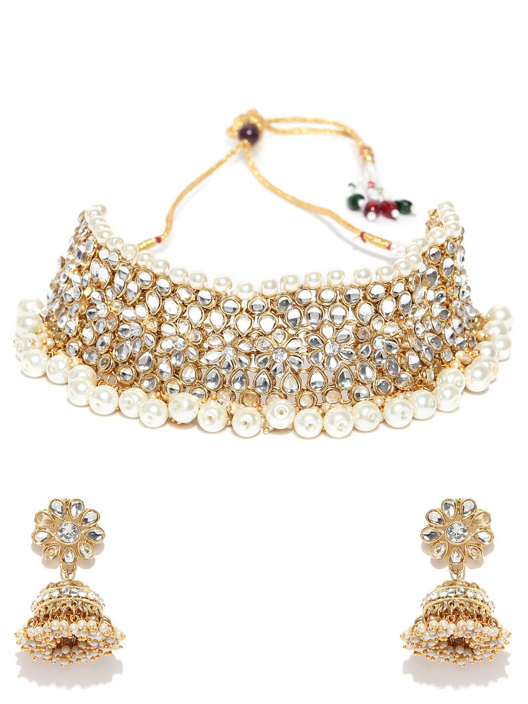 50e59f2d2 Ankur traditional gold plated kundan and pearl choker necklace set for women